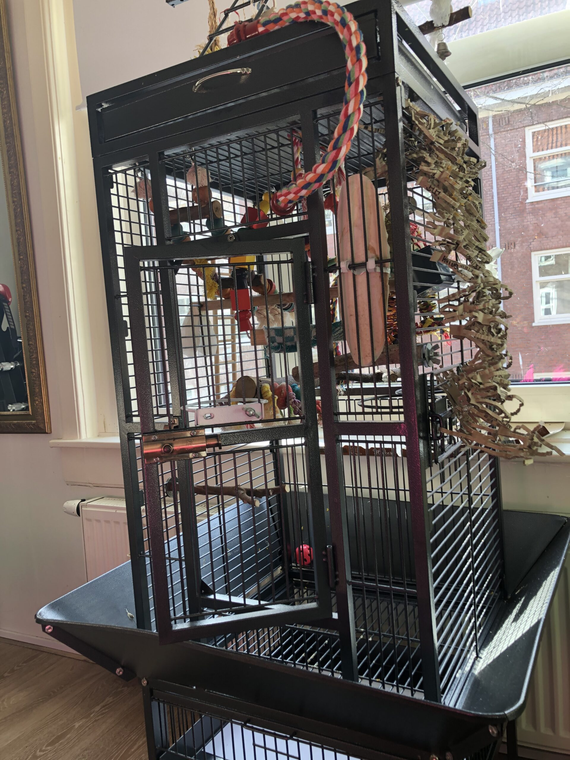 Parrot bird cage equiped with toys and perches