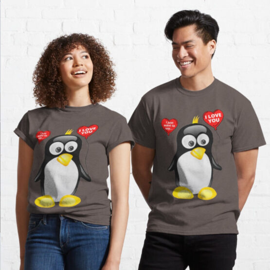 I love you from cute penguin with Heart balloons Classic T-Shirt